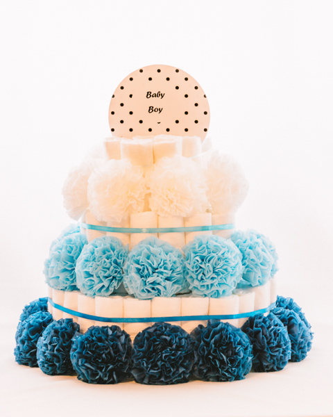 Torta iz plenic Oblacek baby shower