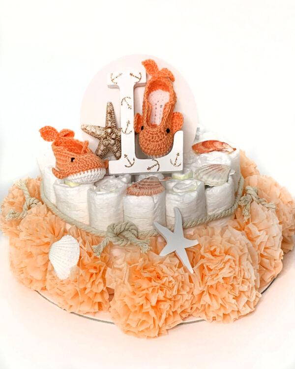 Torta iz plenic Carti Morski biserček kvačkani copatki