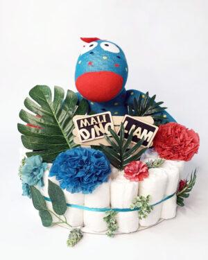 Torta iz plenic Nogavičnik Dino, baby shower