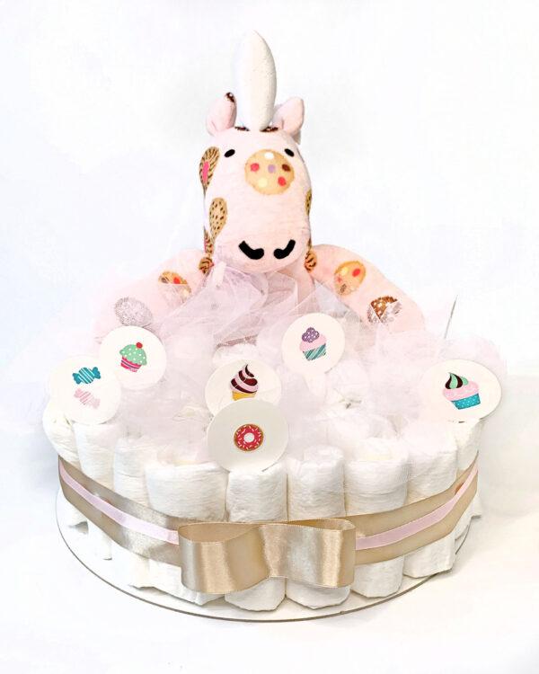 Torta iz plenic Nogavičnik Piškotek, baby shower